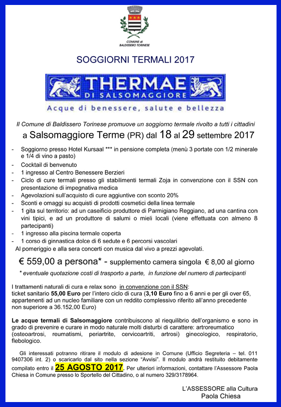 Soggiorni termali 2017 - Comune di Baldissero Torinese